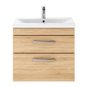 Nuie Athena Natural Oak 2 Drawer Wall Hung Vanity Unit with 40mm Profile Basin 600mm