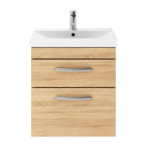 Nuie Athena Natural Oak 2 Drawer Wall Hung Vanity Unit with 50mm Profile Basin 500mm