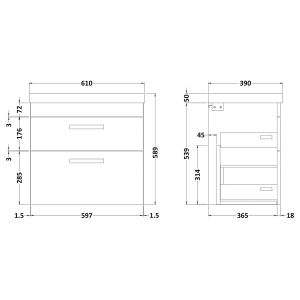 Nuie Athena Natural Oak 2 Drawer Wall Hung Vanity Unit with 50mm Profile Basin 600mm Line Drawing
