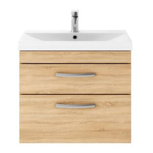 Nuie Athena Natural Oak 2 Drawer Wall Hung Vanity Unit with 50mm Profile Basin 600mm