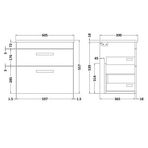 Nuie Athena Natural Oak 2 Drawer Wall Hung Vanity Unit with 18mm Worktop 600mm Line Drawing