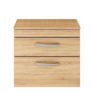 Nuie Athena Natural Oak 2 Drawer Wall Hung Vanity Unit with 18mm Worktop 600mm