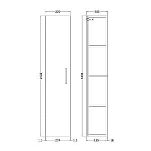 Nuie Athena Natural Oak Single Door Tall Unit 300mm Line Drawing