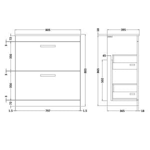 Nuie Athena Stone Grey 2 Drawer Floor Standing Vanity Unit with 18mm Profile Basin 800mm Line Drawing