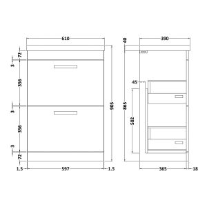 Nuie Athena Stone Grey 2 Drawer Floor Standing Vanity Unit with 40mm Profile Basin 600mm Line Drawing