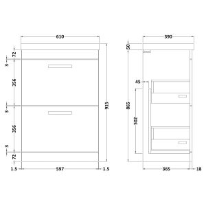 Nuie Athena Stone Grey 2 Drawer Floor Standing Vanity Unit with 50mm Profile Basin 600mm Line Drawing