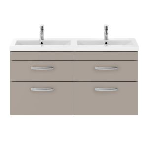 Nuie Athena Gloss White 4 Drawer Wall Hung Vanity Unit with Ceramic Double Basin 1200mm