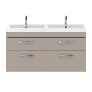 Nuie Athena Gloss White 4 Drawer Wall Hung Vanity Unit with Polymarble Double Basin 1200mm