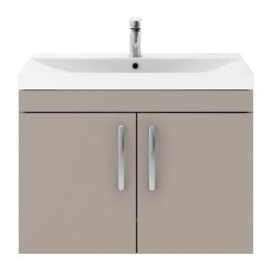 Nuie Athena Stone Grey 2 Door Wall Hung Vanity Unit with 50mm Profile Basin 800mm