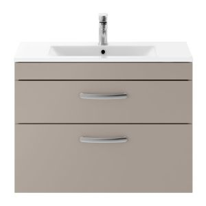 Nuie Athena Stone Grey 2 Drawer Wall Hung Vanity Unit with 18mm Profile Basin 800mm