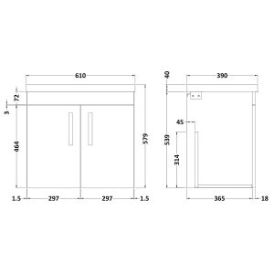 Nuie Athena Stone Grey 2 Door Wall Hung Vanity Unit with 40mm Profile Basin 600mm Line Drawing
