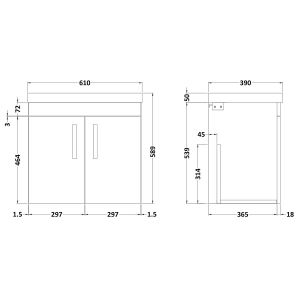 Nuie Athena Stone Grey 2 Door Wall Hung Vanity Unit with 50mm Profile Basin 600mm Line Drawing