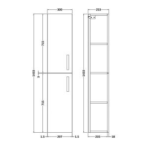 Nuie Athena Stone Grey Double Door Tall Unit 300mm Line Drawing