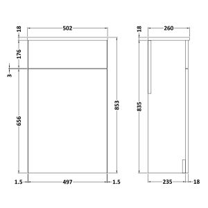Nuie Athena Gloss Grey WC Unit 500mm Dimensions