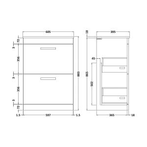 Nuie Athena Gloss White 2 Drawer Floor Standing Vanity Unit with 18mm Profile Basin 600mm Line Drawing