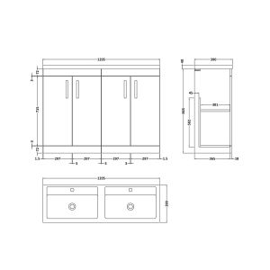 Nuie Athena Gloss White 4 Door Floor Standing Vanity Unit with Double Basin 1200mm Line Drawing