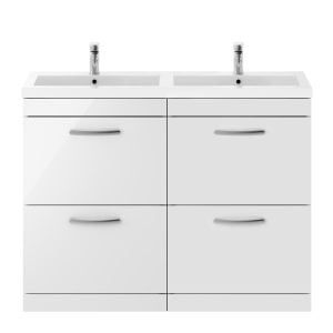 Nuie Athena Gloss White 4 Drawer Floor Standing Vanity Unit with Polymarble Double Basin 1200mm