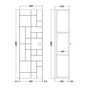 Nuie Blocks Satin White Wall Hung Tall Unit 400mm Line Drawing