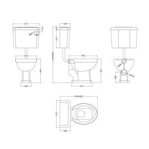 Nuie Carlton Low Level Toilet Line Drawing