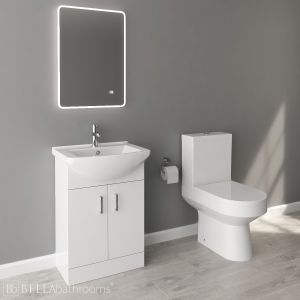 Nuie Deluxe High Gloss White Vanity Unit and Toilet Set 550mm