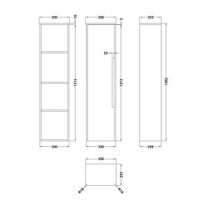 Nuie Elbe Blue Wall Hung Tall Unit 350mm Line Drawing