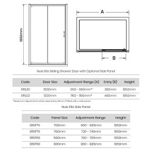 Premier Ella Sliding Shower Enclosure Dimensions