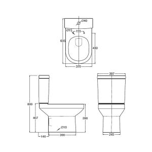 Nuie Harmony Close Coupled Toilet with Soft Close Seat Dimensions