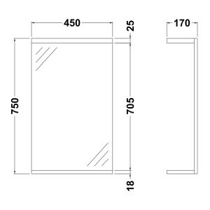 Nuie High Gloss White Bathroom Mirror and Light 450mm Dimensions