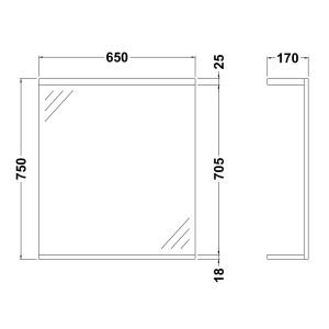 Nuie High Gloss White Bathroom Mirror and Light 650mm Dimensions
