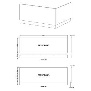Nuie High Gloss White Front Bath Panel 1500mm Line Drawing