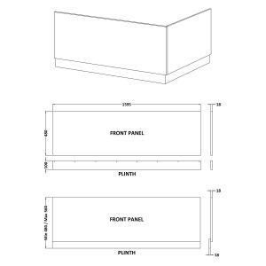 Nuie High Gloss White Front Bath Panel 1600mm Line Drawing