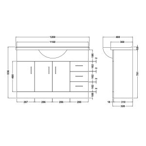 Nuie High Gloss White Vanity Unit 1200mm Dimensions