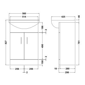 Nuie Deluxe High Gloss White Vanity Unit 550mm Dimensions