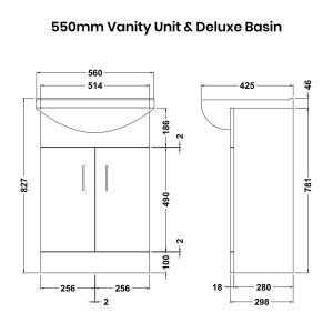 Nuie High Gloss White Vanity Unit 550mm Deluxe Basin Dimensions