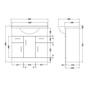 Nuie High Gloss White Vanity Unit 850mm Dimensions