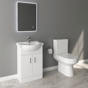 Nuie High Gloss White Vanity Unit and Toilet Set