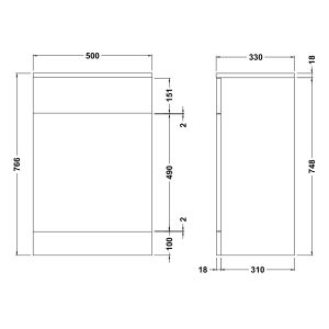 Nuie High Gloss White WC Unit 500 x 330mm Dimensions