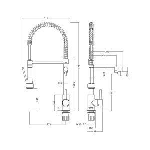 Nuie Kitchen Taps Chrome Tall Side Action Kitchen Tap And Rinser