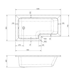 Nuie L Shaped Left Handed Shower Bath 1500mm Dimensions