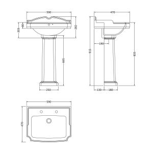 Nuie Legend Basin with Full Pedestal Dimensions