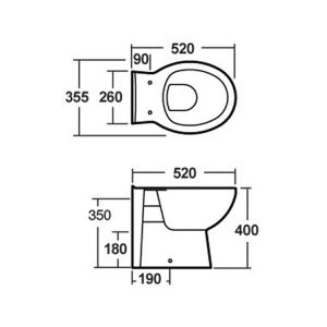 Nuie Standard Back to Wall Toilet Dimensions