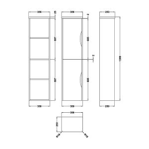 Nuie Parade Gloss White Wall Hung Tall Unit 350mm Line Drawing