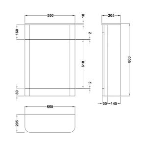 Nuie Parade Grey Mist WC Unit 550mm Line Drawing