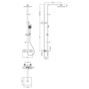 Nuie Thermostatic Bar Valve with Shower Kit Line Drawing
