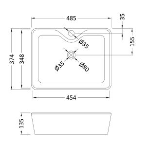 Nuie Vessels 1 Tap Hole Rectangular Counter-top Basin 480mm Line Drawing
