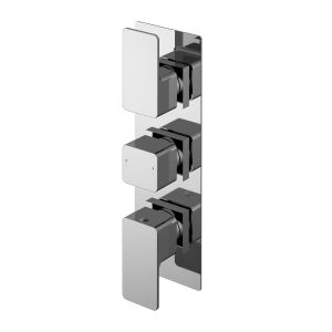 Nuie Windon Chrome Square Triple Thermostatic Valve with Diverter