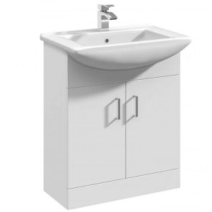 Nuie Mayford White Gloss Floor Standing Cabinet & Basin 550mm