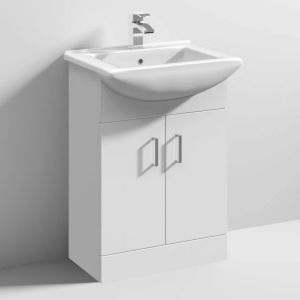 Nuie Mayford White Gloss Floor Standing Cabinet & Basin 550mm 1