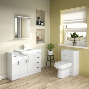 Nuie Mayford White Gloss Floor Standing Cabinet & Basin 550mm 2