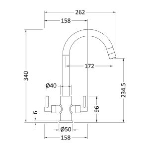 Nuie Minimalist Lever Kitchen Mixer Tap Line Drawing